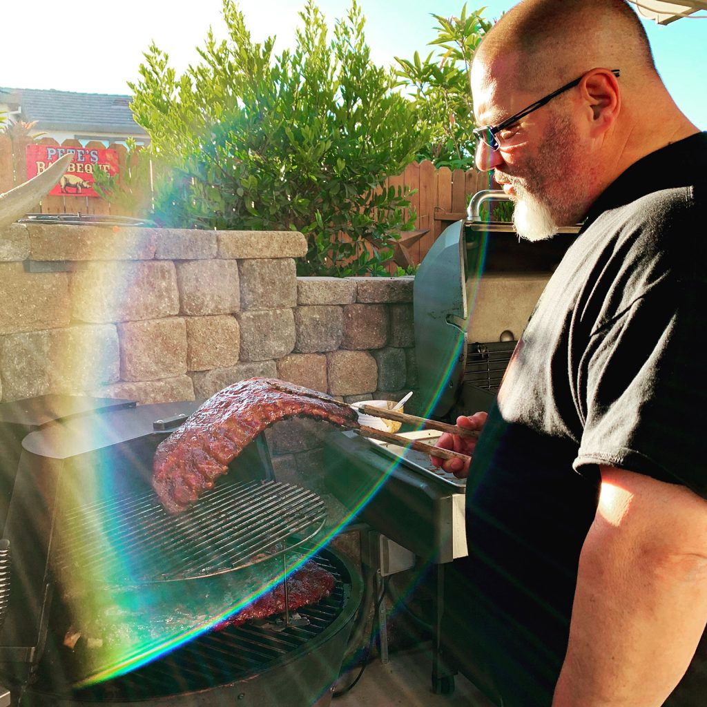 Pete Constant barbecuing