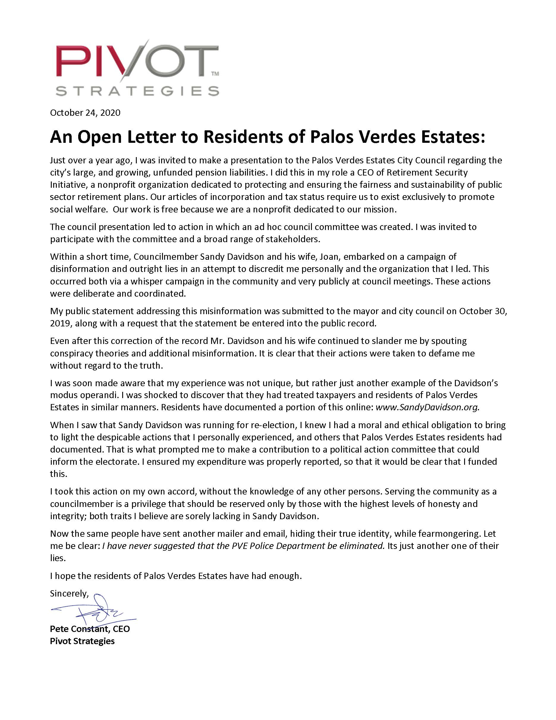 An Open Letter to PVE Residents